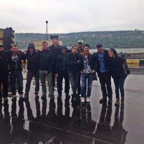Production team at Bechet Port on the ferry to Bulgaria