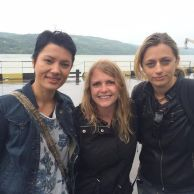 Petra, Shannon and Georgia - wrap photo at the Bulgarian border